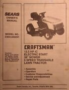 Sears Craftsman 12.5 H.p 38 Riding Lawn Tractor Owner And Parts Manual C944.602221
