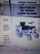 Sears Craftsman 7hp 30 Riding Lawn Mower Tractor Owner And Parts Manual 502.81300