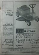 Sears Craftsman Lawn Riding Mower Tractor Owner And Parts Manual 917.250730