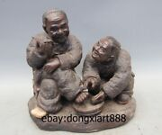Chinese Porcelain And Pottery Old Man Old Women Footbath Harmonious Family Statue