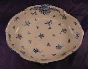 1750and039s Tin Glazed Faience Blue And White Chantilly Fructiere Bowl 13.25 X 10.75