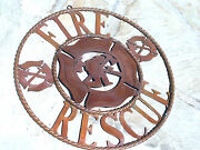 Large Iron Fire Rescue Sign, Fireman Seal, Firehouse 22 0653