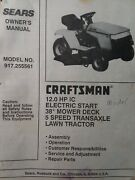 Sears Craftsman 12.0 Ic Hp 38 5-sp Lawn Tractor Owner And Parts Manual 917.255561