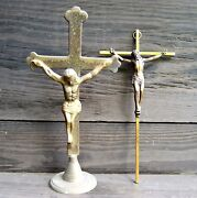 Lot Of 2 Brass Crucifix Crosses Inri Wall Hanging And Standing Cross From Senegal