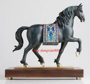47cm China Art Deco Pure Brass Painted Andalusia Horse Animal Decorate Sculpture