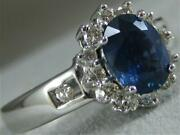 Modern 1.8ct Diamond Sapphire 14k White Gold Halo Cluster Cocktail Ring S1373.10