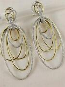 Modern Large Pave Diamond Hanging Oval Hoop 14kt Wy Gold Earrings 52mm E48503tp