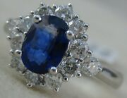 Modern Diamond Oval Sapphire 14k White Gold Diana Cluster Cocktail Ring R00111s