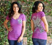 Womens Vocal Crystal Crown Wings Pink Mineral Washed Tunic T Shirt S M Usa