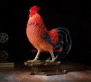 51 Cm Chinese Zodiac Art Deco Pure Brass Painted Chicken Chook Rooster Sculpture
