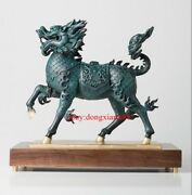 44 Cm Chinese Art Deco Pure Brass Painted Foo Dog Lion Dragon Kylin Sculpture