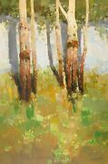 Birches Trees Original Oil Painting Handmade Artwork One Of A Kind
