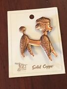 Vintage French Poodle Dog Pin Brooch Bell Trading Co Solid Copper Chased Etched