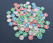 Las Vegas Casino Poker Chips Lot 143 Pieces Blue Red Green 3 Pound Lot