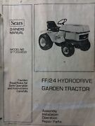 Sears Craftsman Ff/24 Lawn Garden Tractor And Loader Owner And Parts 2 Manual S Hp