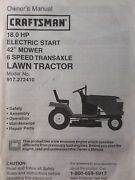 Sears Craftsman 18.0 H.p 42 Lawn Tractor And Mower Owner And Parts Manual 917.272410