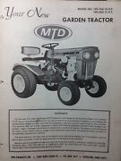 1969 Mtd Garden Tractor And Snow Thrower, Dozer, Mower Owner And Parts 4 Manuals