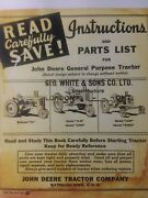 John Deere 1940 A An Anh Aw Awh 477000 Tractor Owner Service And Parts Manual