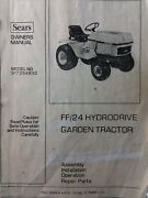 Sears Ff/24 Garden Tractor, 3-point Hitch And Pto Owner And Parts 4 Manual S