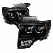 Xtune Fits F150 09-14 Projector Headlights Halogen Model Only Led Halo Black
