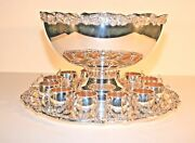 Vintage F.b. Rogers Silver Co. Punch Bowl Set - Silverplate