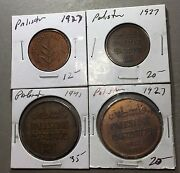 Lot Of 4 Palestine Coins Nice Collector Group Mil A135 Free U.s. Shipping