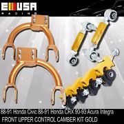 Front Upper Control Camber+fandr Camber Gold For 88-91 Civic/crx 90-93 Integra