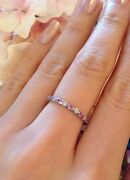 Closeout Diamond And Pink Sapphire Eternity Band Ring Sz 6.5 In Platinum-hm1589i
