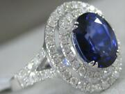 Modern Diamond Sapphire 18kt W Gold Open Halo Split Band Cocktail Ring Mbrs350w