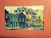 Listed Jake Lee Chinese American Watercolor Painting Old California Buildings