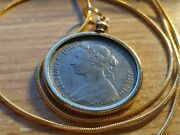 Uk 1885 Queen Victoria Half Penny Pendant On A 24 18k Gold Filled Snake Chain.