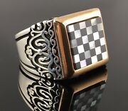.925 Sterling Silver Black And White Onyx Chess Shape Menand039s Ring -us Seller- K5b