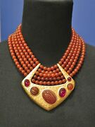 Vintage Ysl Yves Saint Laurent Red Bead Necklace W Gold Metal Pendant W Tag