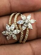 Pave 1.96 Cts Round Marquise Cut Natural Diamonds Ring In Hallmark 585 14k Gold