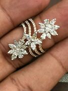 Pave 2.38 Cts Round Marquise Pear Cut Natural Diamonds Ring In Fine 585 14k Gold