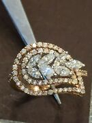 Pave 1.07 Cts Round Marquise Cut Diamonds Wedding Ring In 585 Hallmark 14k Gold