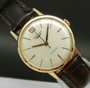 Vintage And Very Fine Longines Automatic And Date 18 Kts Solid Gold Made In 50and039s
