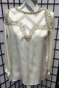Haute Hippie Blouse/top Beaded Pearls Antique Ivory Sheer Open Back Xs Nwt 495