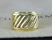 David Yurman 14k Yellow Gold Cable Classic Sculpted Cigar Cocktail Ring Size 5