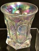 Rare Vintage Carnival Glass Iridized Clear White Tumbler Signed By Terry Crider