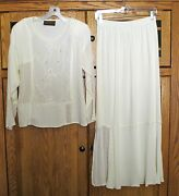 Spencer Alexis Ivory Cream Sequin Lace Victorian Style Outfit Top Skirt8 Bride