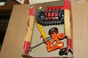 Vintage 1920's Marx Mechanical Tractor With Mower In Original Box