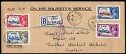 Dominica 1935 Silver Jubilee Set Used On Envelope Backstamp Boston And New York