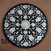 Coffee Table Top Handmade Inlay Black Marble Traditional Floral Mother Of Pearl