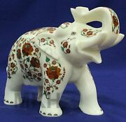 Marble Elephant Figurine Carved Vintage Stone Hand Trunk Up Statue White Stones