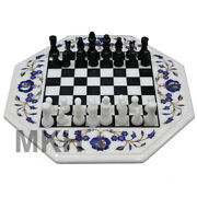 Board Games Online Marble Chess Table Antique Mosaic Floral Inlay Art Work