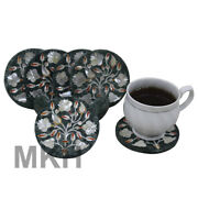 Table Coasters Marble Coaster Set Of 6 With Holder Stone Inlay