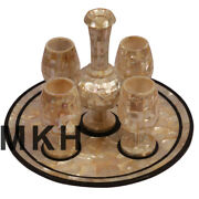 Set Of 4 Wine Glass Marble Serving Tray Inlay Stones Flower Vase Home Decorative