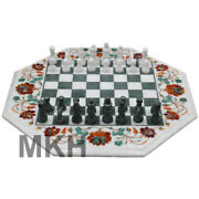 Chess Board Game Side Table For Bed Handmade Pietra Dura White Marble Inlay Art