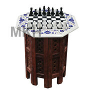 Marble Chess Board Inlay Gem Stones Coffee Table Top Pietra Dura Vintage Mosaic